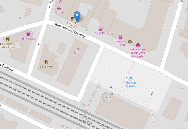 Localisation du Café de la Gare au Vésine